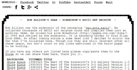 Bob Allison's SAAA Scarecrow's ASCII Art Archive Mirror | ASCII Art | Scoop.it