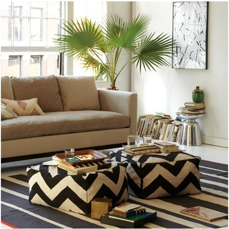 """Add a great Area Rug to these graphic poufs!   Alexanian Carpet & Flooring - """"The World at Your Feet"""" www.alexanian.com   Scoop.it"""