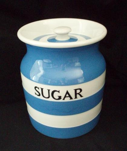 Cornishware Blue Kitchenware Sugar Pottery Jar T G Green – Sold at Barntiques859 | Eclectic Kitchen Design | Scoop.it