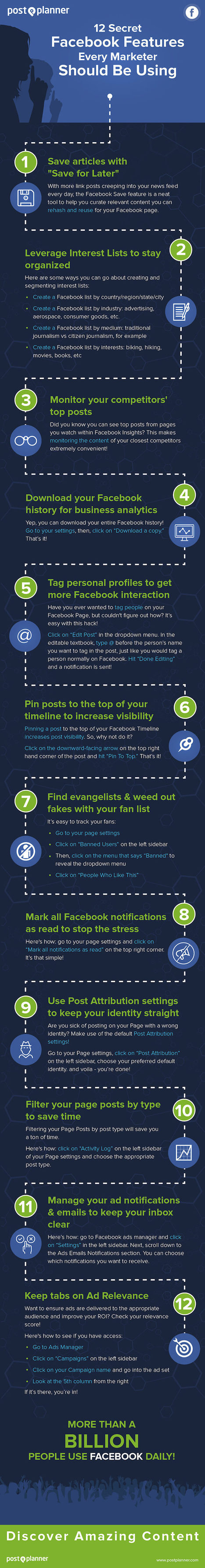 12 Secret Facebook Features Every Marketer Should Be Using #Infographic | social media useful  tools | Scoop.it