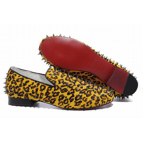 Christian Louboutin Rollerboy Spikes Womens Flat Shoes Leopard Print Yellow | my style | Scoop.it