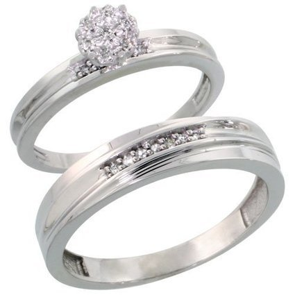 Sterling Silver 2-Piece Diamond wedding Engagement Ring Set... | Jewelry Mall | Scoop.it