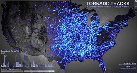 Tornado Tracks: 56 Years Of America's Most Terrifying Tornadoes Visualized | Tornadoes | Scoop.it
