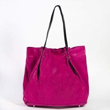 Sac cabas en cuir véritable satiné rose fuchsia   Accessoires de mode femme   Scoop.it