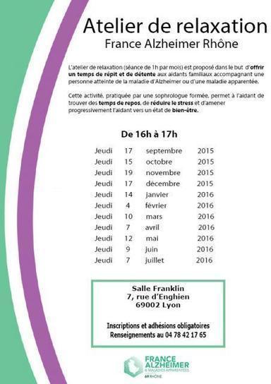 NOUVEAU : Atelier de relaxation pour les aidants familiaux | France Alzheimer - Rhône | Aidants familiaux | Scoop.it