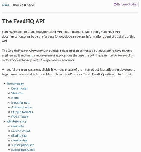 """FeedHQ """"Open Reader API"""" (based on the undocumented Google Reader API) goes open source 