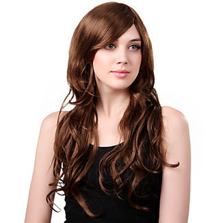 Capless Long Synthetic Charming Brown Curly Hair Wig Side Bang – WigSuperDeal.com | African American Wigs | Scoop.it
