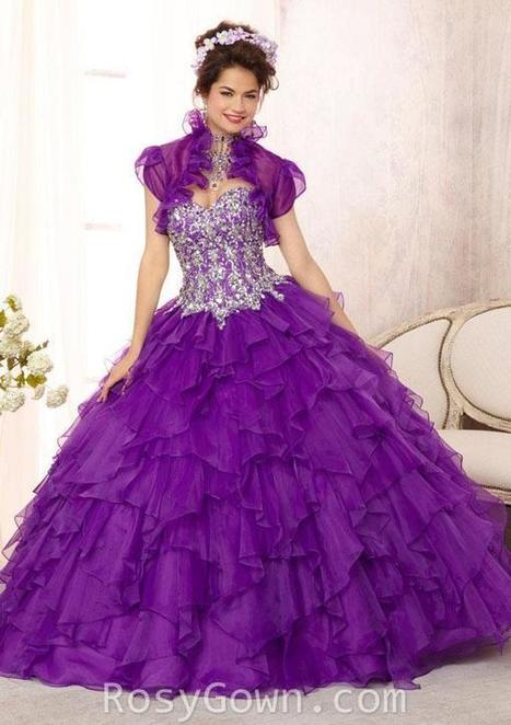 Embroidered and Beaded Purple Ruffled Organza Quinceanera Dress | Cheap Prom Dresses | Scoop.it
