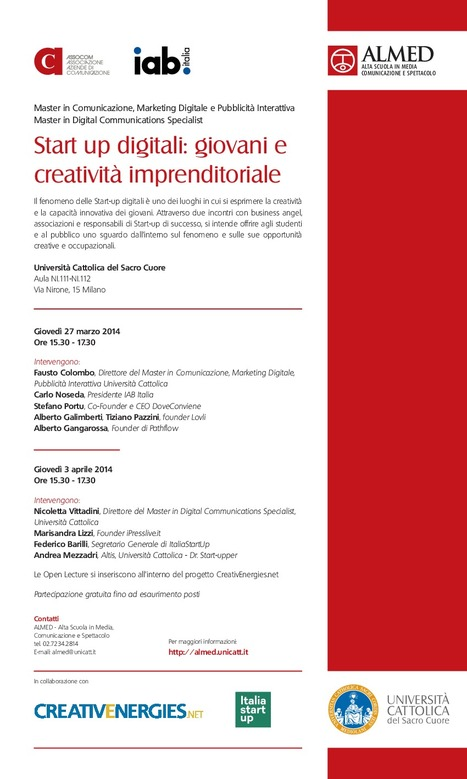 Start up digitali: due open lecture | Start up digitali: Vita da #MasterDCS | Scoop.it