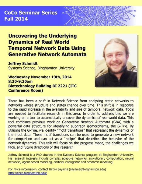 "Next CoCo seminar on Wed Nov 19th by Jeff Schmidt: ""Uncovering the Underlying Dynamics of Real World Temporal Network Data Using Generative Network Automata"" 