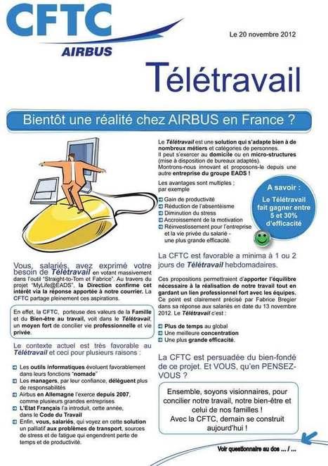 Tract - Télétravail - 20 novembre 2012 - Site syndical CFTC Airbus | Le télétravail à Airbus | Scoop.it