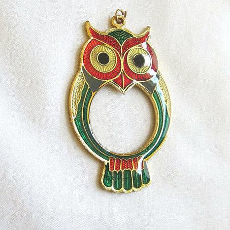 Vintage Red and Green Enamel Cloisonne Owl Pendant   Favorite Vintage Jewelry   Scoop.it