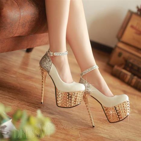 Elegant White PU Closed Toe Sequin Stiletto Heel Shoes | Fashion for women | Scoop.it