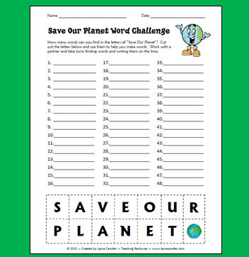 Save Our Planet Word Challenge | Seasonal Freebies for Teachers | Scoop.it
