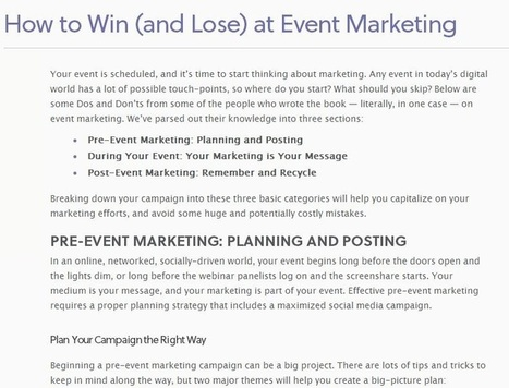 How to Win (and Lose) at Event Marketing – Marketo.com | Digital Marketing | Scoop.it