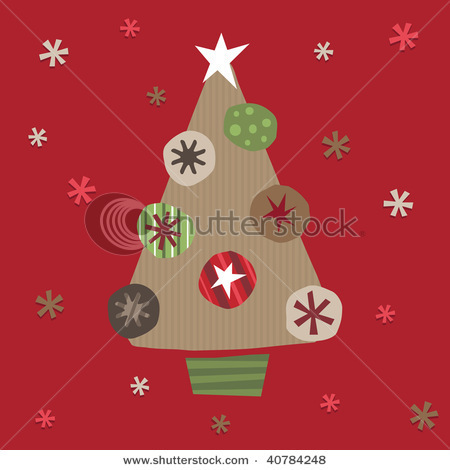 Christmas Tree Made From Brown Paper And Cut Out Decorations Stock Vector 40784248 : Shutterstock | Christmas Ideas that rock! | Scoop.it