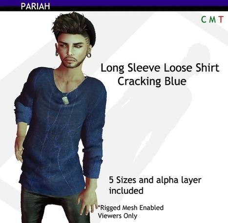 Long Sleeve Loose Shirt Cracking Blue by PARIAH (10L Promo) | Teleport Hub | Second Life Freebies | Scoop.it