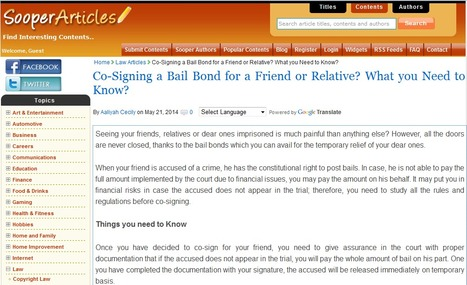 Co-Signing a Bail Bond for a Friend or Relative? What you Need to Know? | Business | Scoop.it