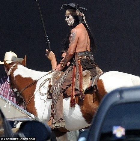Ride 'em Johnny: Shirtless Depp shows his saddle skills atop a horse in Lone Ranger | Johnny Depp | Scoop.it