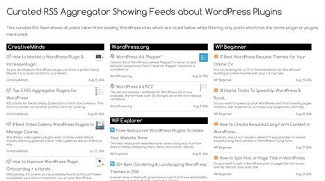 CM Curated RSS Aggregator: a WordPress plugin to filter and display news from RSS feeds | RSS Circus : veille stratégique, intelligence économique, curation, publication, Web 2.0 | Scoop.it