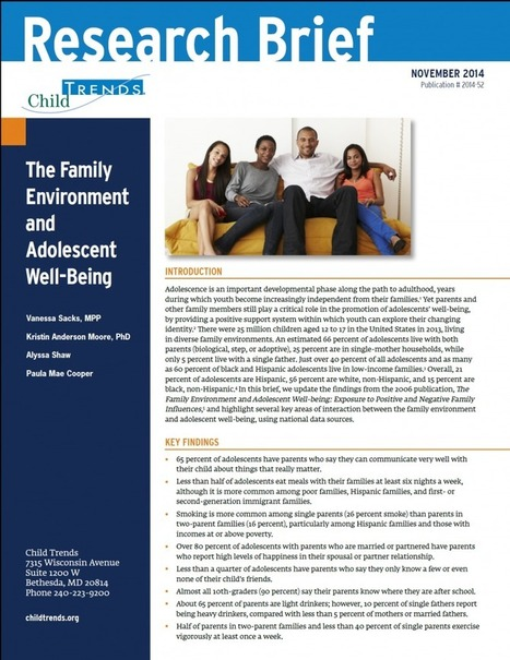The Family Environment and Adolescent Well-Being | Healthy Marriage Links and Clips | Scoop.it