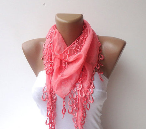 women scarf ,cotton with lace scarves, pink scarf  neckwarmer ,cowl , elegant  unique Pink scarves | Knit Ruffled Scarf,multicolor scarf,2013 NEW TREND SCARF,accessories,gifts for her,fashion,long scarf | Scoop.it