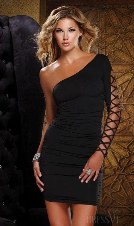Sexy One-Shoulder Asymmetric Hollow Sleeve Bodycon Dress | Dressve fashion | Scoop.it