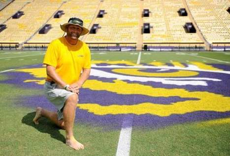 Grounds keeper has one cool job: painting LSU's mid-field Tiger Eye - The Advocate | Sports Facility Management | Scoop.it