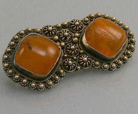 Vintage Filigree Silver & Amber Brooch   Vintage Jewelry   Scoop.it