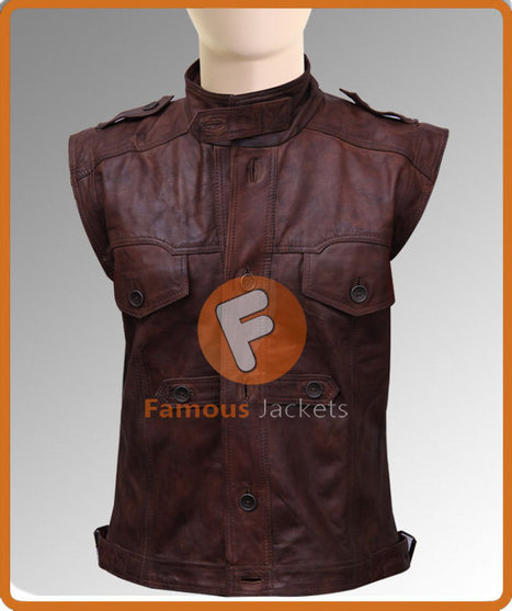 Defiance Joshua Nolan Distressed Brown Leather Vest | Movie Jacket | Scoop.it