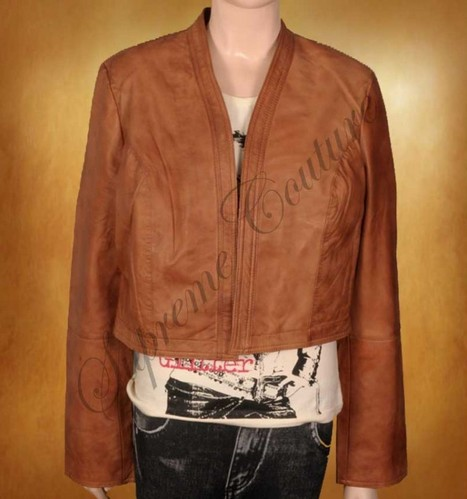 Attractive image is established to wear Tawny Buff Short Body Leather Jacket. | WOMEN JACKETS | Scoop.it