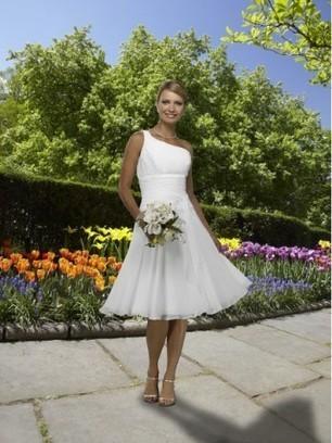 Simple White One Shoulder Empire Wasit Chiffon Satin Beach Wedding Dresses - Beach Wedding Dresses - Wedding Dresses | Wedding Dresses | Scoop.it