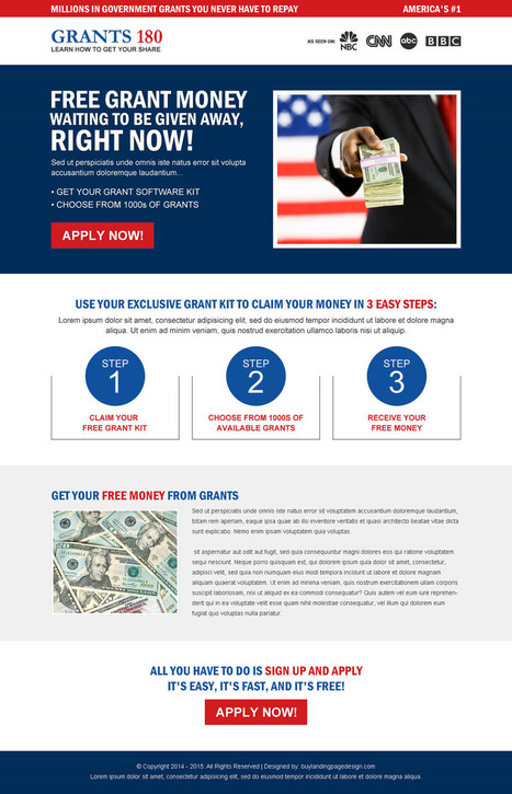 free-grant-money-signup-service-lp-13 | Government Grants Landing Page Design preview. | converting and effective landing page designs | Scoop.it