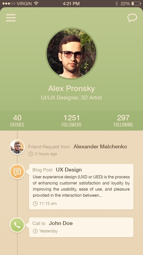 Dribbble - User_Profile_IOS_Freebie_by_Alex_Pronsky.png by Alex Pronsky | PSD Mobile User Interface | Scoop.it