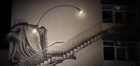Ce street art illustre un poisson effrayant qui interagit avec des lampadaires | Art et Publicité | Scoop.it