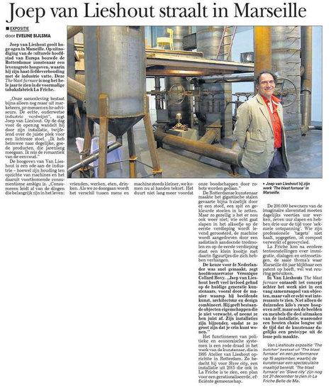 Die Telegraaf I Eveline Biljsma - Août 2013 | New Orders : revue de presse de la programmation 2013 du Cartel à la Friche belle de mai | Scoop.it