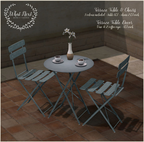 {what next} Terrace Chairs & Table for Fifty Linden Friday | 亗 Second Life Freebies Addiction & More 亗 | Scoop.it