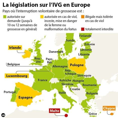 La carte du droit à l'avortement en Europe | Union Européenne, une construction dans la tourmente | Scoop.it