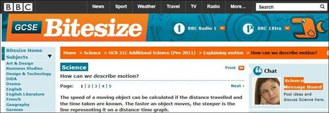 BBC - GCSE Bitesize: Speed, distance and time | Science Teacher | Scoop.it