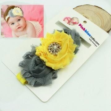 Shop Online Grey and Yellow Flower Headband for Children | Online Baby Accessories | Scoop.it