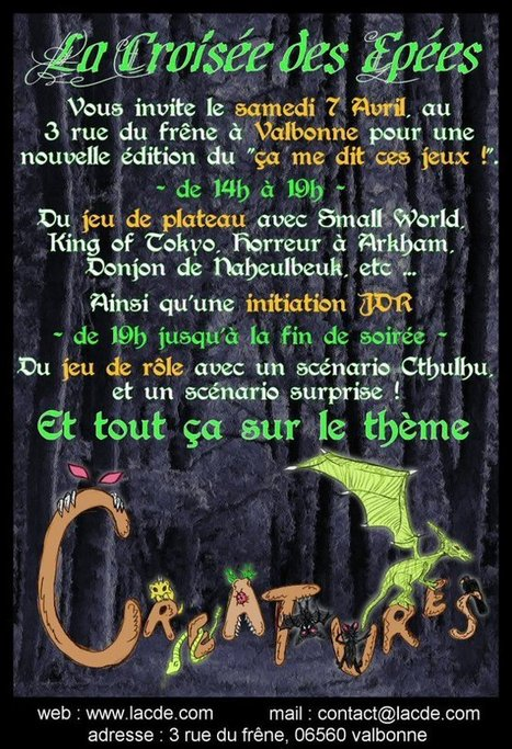 "Rôle Grand Sud: ""Ca me dit ces jeux"" samedi 7 avril 2012 à Valbonne | JdR Francophone | Scoop.it"