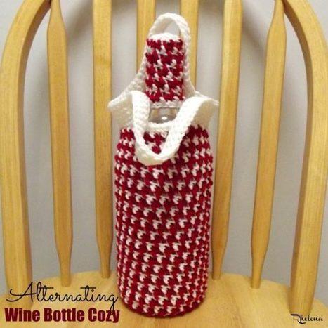 Alternating Wine Bottle Cozy - CrochetN'Crafts | Free Crochet Patterns | Scoop.it