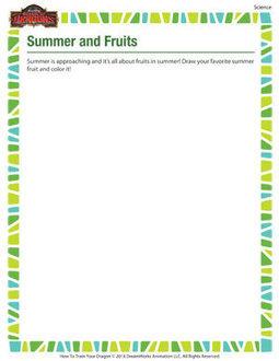 Summer And Fruits – Kindergarten Science Worksheet – School Of Dragons | Educational Resources for Kids | Scoop.it