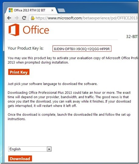 ms office 2013 product key  for windows 8