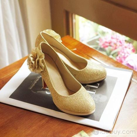 Shinning Golden PU Stiletto Heels Prom Shoes/Evening Shoes | lovely girl | Scoop.it