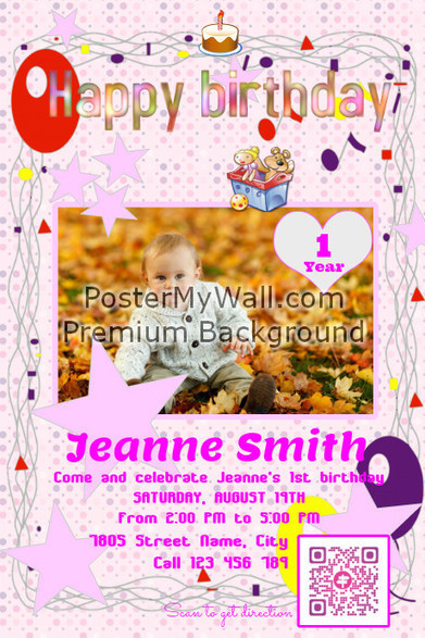 Happy birthday invitation card (with driving direction QR code) on PosterMyWall | QR CODE TEMPLATES | Scoop.it