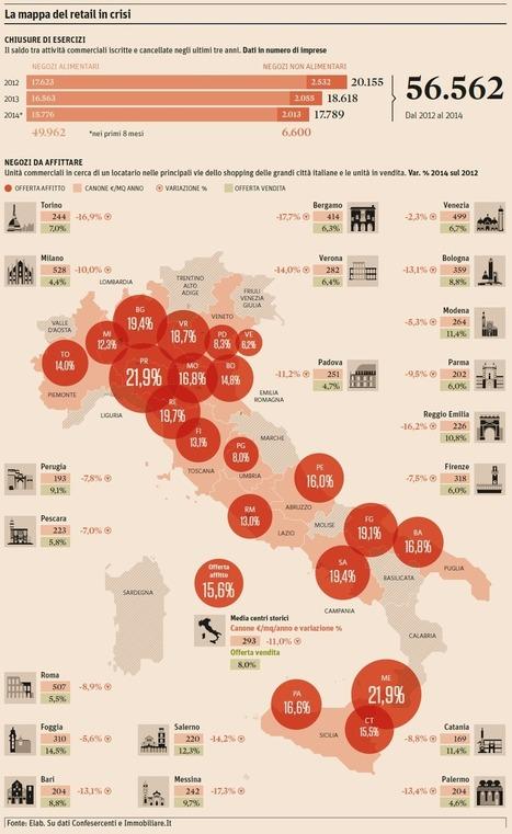 La mappa del retail in Italia: vetrine spente sempre in aumento - Il Sole 24 Ore | retail | Scoop.it
