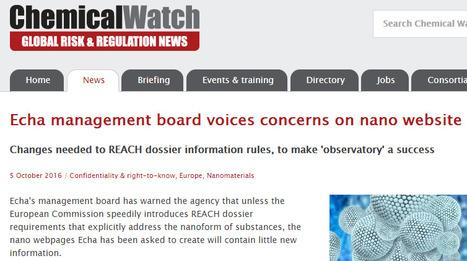 05/10/16 - Chemical Watch : Echa management board voices concerns on nano website   Les actus nano repérées par Avicenn   Scoop.it