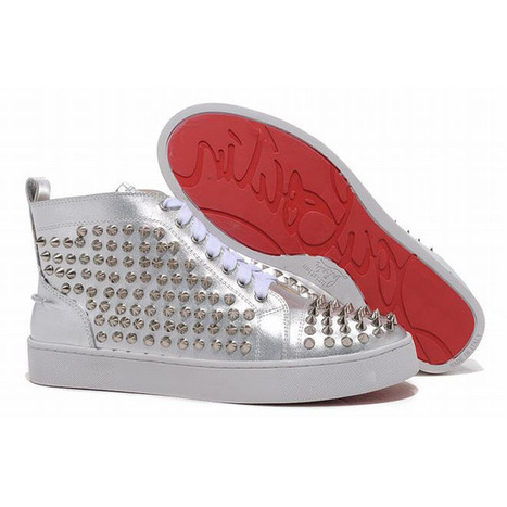 Red Bottom Christian Louboutin Louis Spikes Mens Sneakers Silver | my love list | Scoop.it