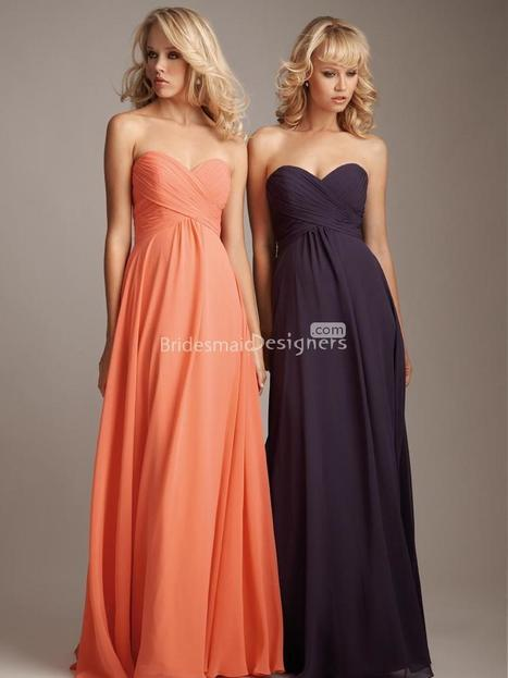 Traditional Sweetheart Sleeveless Empire Floor Length A-line Ruched Chiffon Bridesmaid Formal Dress | Evening Dress | Scoop.it